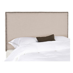"""Safavieh - Sydney Headboard - Choose the Sydney headboard for tailored luxury upholstered fabric for comfort and style. Offering clean lines for contemporary or transitional interiors. Features: -Upholstered with polyester fabric.-Thick padding.-Nailhead definition in Bronze or Pewter.-Distressed: No.Dimensions: -Full: 54.1"""" H x 55.9"""" W x 3.1"""" D.-Queen: 54.1"""" H x 62.2"""" W x 3.1"""" D."""
