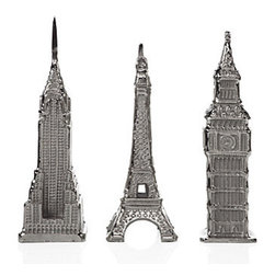 Aluminum Big Ben, Eiffel Tower & Chrysler Building - Three of the world's most iconic buildings are commemorated in cast aluminum to add to your fashionable room decor. Our versions of New York's Chrysler Building, Paris' Eiffel Tower and London's Big Ben are authentic replications of these important landmarks. The cast aluminum is polished to a bright shine, and Black velvet underneath protects your table or shelf. The Chrysler Building measures 4.25 inches wide by 14 inches tall, the Eiffel Tower is 5 inches wide by 13.5 inches tall, and Big Ben measures 3.75 inches wide by 14.5 inches tall.