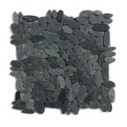 Glass Tile Oasis - Komodo Black Pebbles & Stones Black Flat Pebbles Series Tumbled Natural Stone - During manufacturing, the pebbles are hand sorted into like colors and sizes and individually glued onto mesh backing. As a result product will vary in size, shape and color. Colors represented online may not show full range of variation. It is not unusual to find occasional imperfections, veins and lines of separation within the pebbles. This variation is considered to be a desired feature in the product.