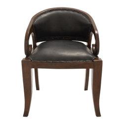 Superior Wood Teak Leather Chair - Description: