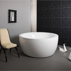 "Aquatica - Aquatica Pamela Freestanding Lucite Acrylic Bathtub - White - If you didn???t believe in love at first sight before, one look at the Pamela Round Freestanding Bathtub by Aquatica will be enough to make you change your mind. With its stunning round shape and extraordinarily wide rim, the Pamela is just crying out for hours of indulgence. And as it's made of ultra-modern Acrylic, the Pamela is just as much of a joy to maintain as it is to soak in.Aquatica's bathtubs offer modern glamour at affordable prices. The Aquatica line is diverse enough to encompass both bathtubs with classical elegance that match the style of your bath and bathtub models that are distinctive and unique as the centerpiece of your remodel.FeaturesStriking upscale modern designFreestanding constructionSolid, one-piece construction for safety and durabilityExtra deep, full-body soakErgonomic design forms to the body's shape for ultimate comfortQuick and easy installationConstructed of 8mm thick Lucite AcrylicLucite acrylic has one of the hardest surfaces of any acrylic, yet it is warm to the touch, easy to clean, and resistant to a wide range of household chemicals and cosmetic productsLucite acrylic provides for excellent heat retention as well as a hygienic, high-gloss, long-lasting finishHigh gloss white surfaceColor is consistent throughout its thickness - not painted onColor will not fade or lose its brilliance overtime, even after years of cleaningPreinstalled cable drive pop up and waste-overflow fitting includedDesigned for one or two person bathingNon-porous surface for easy cleaning and sanitizingBuilt-in metal base frame and adjustable height metal legsChrome plated drainUpgrade to the Air Relax System for the perfect relaxation experienceAir Relax System includes 12-point LED lighting system, chromo-therapy function and air-jet system10 Year Limited WarrantyCode compliant with American standard 1.5"" waste outletsSpecificationsOverall Dimensions: 68 in. L X 68 in. W X 29.5 in. HDepth to Overflow Drain: 20.5 in.Interior Depth: 22 in.Interior Length (Top): 58.25 in.Interior Width (Top): 58.25 in.Interior Length (Bottom): 43.75 in.Interior Width (Bottom): 43.75 in.Weight: 119 lbsCapacity: 125 GallonsShape: Round Drain Placement: ReversibleSpec SheetNote: The soaker model usually ships in 4-6 weeks. The air relax system model usually ships in 6-8 weeks. Please allow an additional 2-3 business days for order transmittal and verification."