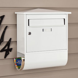 Castle Locking Wall-Mount Mailbox with Newspaper Roll - This wall mount locking mailbox features the elegance of a peaked roofline with the added convenience of a newspaper roll attached to the bottom. A customizable label allows you to personalize this mailbox while the locking feature keeps mail secure.