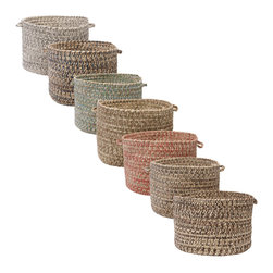 Colonial Mills - 'Canyon' 18-inch Tweed Braided Basket - Featuring a palette of soft colors,this 18-inch braided basket makes a great storage container for blankets,books,and craft supplies. Complete with durable tweed construction and two easy-grip handles,this basket will prove to be invaluable.