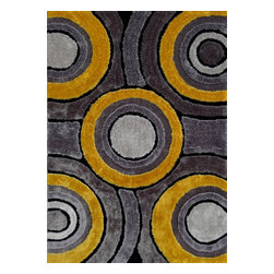 Rug - ~5 ft. x 7 ft. Shaggy Yellow with Grey Living Room Area Rugs , Hand-tufted - Living Room Hand-tufted Shaggy Area Rug