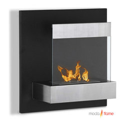 Moda Flame - Moda Flame Madrid Wall Mounted Ethanol Fireplace - Add warmth, charm and ambiance with GF101700 Madrid Wall Mounted Ethanol Fireplace by Moda Flame The Madrid is a humble framed wall mounted contemporary fireplace which is ideal for compact snug rooms. It is composed of a decorative hammered steel backdrop with a protective tempered glass that makes a astonishingly bold statement. Fireplace (1)