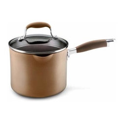 Anolon - Anolon Advanced Bronze Collection - 3.5 Qt. Straining Saucepan w/Spouts - Anolon Advanced Bronze Collection - 3.5 Qt. Straining Saucepan w/Spouts - 82242   A clever design for straining, pouring or covered cooking. The lid, made of crystal clear, break resistant glass, has a deep rim with optional straining holes. To strain, line the holes up with the pan's pour spouts and strain with ease. For covered cooking, rotate the lid to close the holes and moisture will stay inside the pan. To pour, remove the lid and use the pour spouts that are built into the pan body. Regardless of these convenient features, you have a saucepan made of even heating hard-anodized steel for great cooking performance. A durable nonstick surface makes for stress-free cleaning.
