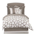 Oilo - Full/Queen Cobblestone Duvet, Taupe - Let the cobblestone path lead straight to your bedroom with this neutral-toned duvet. The classic colors and double-sided pattern create a modern and crisp look and the 300 thread count means you'll be sleeping on the softest of fabrics. You can't go wrong with this chic design. Pillows not included.