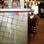"""Commercial Spaces - Crossville Glass Blox tile set in a Pinwheel Pattern with a 4""""x4"""" G080 Dewdrop and a 1""""x1"""" G024 Sapphire, G046 Iced Tea, G070 Taupe Fog and G107 Sherry"""