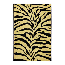 None - Rubber Back Black and Ivory Tiger Print Non-Skid Area Rug (5' x 6'6) - This richly designed area rug features a modern black,ivory and tan tiger print or a trendy,versatile touch to any room. Designed to be stain resistant,this rug features a non-skid rubber backing,alleviating the need for a rug pad.