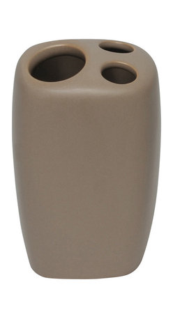 Stoneware Toothbrush Holder Brown Glaze - This elegant toothbrush holder for bathrooms is in stoneware with simple lines and contemporary curves to add a modern look and feel to your decor. This toothbrush holder is a lovely accent for any bathroom with its curvy shape and has three slots for toothbrushes and toothpaste. Length 2.36-Inch, width 2.56-Inch and height 4.33-Inch. Wipe clean with soapy water. Color brown glaze. Accessorize your bathroom countertop in a trendy style with this charming toothbrush holder! Complete your decoration with other products of the same collection. Imported.