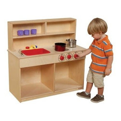 Wood Designs 3 in 1 Tot Kitchen - All within the space of two feet children can prepare and cook an imaginary meal and wash the dishes. Includes a two-burner stove with three play knobs and a sturdy plastic sink. The two-shelf hutch is built in. Doors include continuous Pinch-Me-Not™ hinges to keep little fingers safe. Made of sturdy hardwood plywood with a light-resistant kid-safe finish for easy cleaning. What's for dinner? About Wood Designs Healthy Early Learning FurnitureWith more than half a decade of experience manufacturing for the school and early learning industries Denny and Debbie Gosney began Wood Designs to create youth furniture that enriches the development of young children's lives. The company uses the finest quality materials and every product is inspected before it arrives in the hands of its young customers. Wood Designs' highly skilled craftspeople use their experience to make premium safe quality furniture designed with kids in mind. In 2008 Wood Designs introduced a new line of furniture that offers the safest strongest most environmentally friendly products available for classroom use. Safety features include recessed backs and extra depth for stability rounded edges Tip-Me-Not doors that go all the way to the floor so it's more difficult for children to pull over the furniture and Pinch-Me-Not continuous hinges that help prevent pinched fingers. All Wood Designs furniture receives a triple coat of Healthy Kids Tuff-Gloss™ the company's GREENGUARD certified UV finish - tough durable stain and chemical resistant and easy to clean. Furniture is constructed with a strong (and beautiful) mortise glue and steel pin assembly method. Wood Designs assembly is many times stronger than furniture assembled with pencil-thin dowels and all pieces include a lifetime warranty.