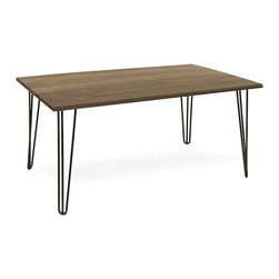 Classic Designs - Hairpin Leg Dining Table, Black Walnut Wood Top, Seats 8 People - Handcrafted in Vermont with a solid Black Walnut top with Hairpin Legs.