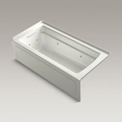 """KOHLER - KOHLER Archer(R) 66"""" x 32"""" whirlpool with integral apron, left-hand drain and he - Taking its design cues from traditional Craftsman furniture, the Archer line of baths reveals beveled edges and curved bases for a clean, sophisticated style. This bath offers a low step-over height while allowing deep, comfortable soaking. Whirlpool jets relax away the day's tension as a built-in heater keeps your water at the perfect temperature. KOHLER ExoCrylic(TM) is the next generation of bathroom acrylics, featuring a lighter weight for easier installation and 90% fewer VOCs produced during manufacturing."""