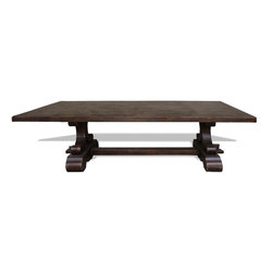 Koenig Collection - Tuscan Old World Dining Table Austin, Brown Ochre - Old World Austin Dining Table, Brown Ochre with Scrolls