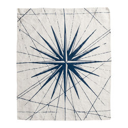 Cricket Radio - Montauk Compass Rose Hand Towel, Oyster/Navy - Point your decorating in the right direction. This towel features a compass pattern hand-printed on Italian linen and comes in your choice of color combinations. There's even a hanging loop so you don't have to miss out on any of the color or nautical fun.