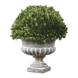 Uttermost - Preserved Boxwood Garden Urn - Natural foliage that is freshly picked from real boxwood plants and carefully preserved to maintain its lush green color and natural texture, indelibly planted in a stony gray ceramic urn.
