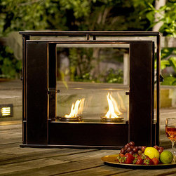 Upton Home - Upton Home Wesley Indoor/ Outdoor Portable Fireplace - Enjoy romantic and restful flames anywhere inside or outside your home with this portable gel fireplace from Wesley. It features a metal construction with a black painted finish and copper edges that will fit into modern and traditional decor styles.