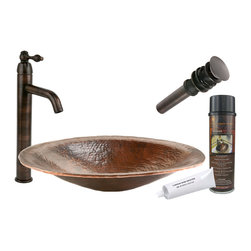 "Premier Copper Products - Premier Copper Products BSP1_PVOVAL20 20"" Hand Forged Copper Vessel Sink Package - Premier Copper Products BSP1_PVOVAL20 20"" Hand Forged Copper Vessel Sink Package"
