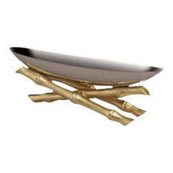 "L'Objet - L'Objet Small Stainless Steel Boat on 24K Gold Plated Bambou - L'Objet is best known for using ancient design techniques to create timeless, yet decidedly modern serveware, dishes, home decor and gifts. Stainless SteelHand-Antiqued Brass24K Gold-PlatingPlease Hand WashLuxuriously Gift Boxed. Suede Storage Bag IncludedMeasures: 12"" L x 3.25""W x 3.5""H This collection combines organic elements with sleek silhouettes to create a modern statement. Each unique bamboo accent is hand-gilded with 24K gold and soldered with sterling silver."
