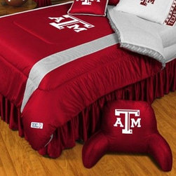 Sports Coverage - Texas A & M NCAA Bedding - Sidelines Comforter and Sheet Set Combo - Queen - This is a great Texas A & M NCAA Bedding Comforter and Sheet set combination! Buy this Microfiber Sheet set with the Comforter and save off our already discounted prices. Show your team spirit with this great looking officially licensed Comforter which comes in new design with sidelines. This comforter is made from 100% Polyester Jersey Mesh - just like what the players wear. The fill is 100% Polyester batting for warmth and comfort. Authentic team colors and logo screen printed in the center. Microfiber Sheet Set have an ultra-fine peach weave that is softer and more comfortable than cotton! This Micro Fiber Sheet Set includes one flat sheet, one fitted sheet and a pillow case. Its brushed silk-like embrace provides good insulation and warmth, yet is breathable. It is wrinkle-resistant, stain-resistant, washes beautifully, and dries quickly. The pillowcase only has a white-on-white print and the officially licensed team name and logo printed in team colors. Made from 92 gsm microfiber for extra stability and soothing texture. Sheet Sets are plain white in color with no team logo.   Includes:  -  Flat Sheet - Twin 66 x 96, Full 81 x 96, Queen 90 x 102.,    - Fitted Sheet - Twin 39 x 75, Full 54 x 75, Queen 60 X 80,    -  Pillow case Standard - 21 x 30,    - Comforter - Twin 66 x 86, Full/Queen 86 x 86,