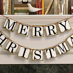 'Merry Christmas' Banner by Banner's Loft - Drape a merry banner across the mantel, above the buffet or on an empty wall. Merry Christmas!