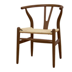 Baxton Studio - Baxton Studio Wishbone Chair - Dark Brown Wood Y Chair - This dining chair features traditional wood and is paired with a modern design, resulting in a unique piece for your home. The frame consists of solid wood with a natural finish, a comfortably-curved backrest, and sturdy natural hemp seat. This item will arrive fully assembled, and is also available in a lighter brown wood stain. This is a quality reproduction of the Hans Wegner Wishbone Chair, which is also known as the Wegner Y Chair, Carl Hansen Wishbone Chair, CH24 Wishbone Chair, and the Wegner CH24.