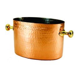 Old Dutch International - Decor Double Chiller - 7 quart capacity. Copper plated. Brass handles with aluminum insert. Made from steel. 14 in. L x 8 in. W x 7 in. H (5.6 lbs.)Decor copper double champagne chiller. Classic style shows off your good taste with this decor Copper Chiller with aluminum insert. A welcome wedding, anniversary or hostess gift. Aluminum insert keeps bottle separate and can be removed for use as an ice bucket. Handcrafted by skilled artisans. Heavy weight construction with a hand-hammered finish.