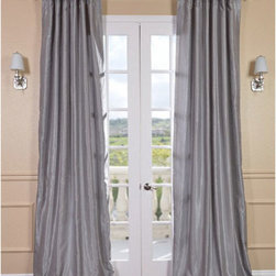 Half Price Drapes - Silver Vintage Textured Faux Dupioni Silk Single Panel Curtain, 50 X 84 - - If you love the sheen of sterling silver, then Faux Silk Dupioni curtains in Silver are the match for you! With tones of light grey, this is a quick way to add elegance in a room with a neutral color. Our Faux Silk Dupioni curtains have a slight sheen that mimics the finest textured Dupioni silk. These curtains bring the look of luxury without the cost or high-maintenance care. Built-in are two header designs within a single panel: attached back tabs for a formal pleated look and traditional pole pockets.   - Single Panel   - 3 Rod Pocket with Back Tab   - Pole Pocket with Back Tabs   - Dry clean   - 100% Polyester Dupioni Fabric   - Lined with a cotton blend material  - 50x84   - Imported   - Silver Half Price Drapes - PDCH-KBS9-84