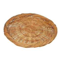 Eco Displayware - Medium Round Rattan Caterer's Tray in Natural - Earth friendly. 27 in. Dia x 2.75 in. H (7.29 lbs.)Using these tray baskets can add an old world touch to your dining table.