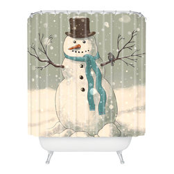 DENY Designs - DENY Designs Terry Fan Snowman Shower Curtain - Who says bathrooms can't be fun? To get the most bang for your buck, start with an artistic, inventive shower curtain. We've got endless options that will really make your bathroom pop. Heck, your guests may start spending a little extra time in there because of it!