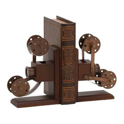 """Benzara - The Classic Wood Metal Book End Pair - Do you love reading? Are you always buying books or taking them out from the library? Well, if you do then you will find the need of book ends. Just keeping your books on shelves means that they can fall off; to combat this you need book ends. These wood metal book ends will do exactly that. In what are book ends shaped like the reel of a film, you can now add them to your shelves and make them a whole lot more attractive to look at.In a brilliant dark brown color; these books have also been made using quality materials. This ensures that they will last with you for years to come. All who see them will certainly be impressed, and probe you for their source. A surefire must have for every voracious reader: these are classics. Wood meat book end dimensions: Each: 6 inches (W) x 3 inches (D) x 9 inches (H); Wood metal book end color: Dark brown; Made from: Wood, Metal; Dimensions: 38""""L x 10""""W x 14""""H"""