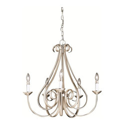 Kichler Lighting - Kichler 2021 Tuscan 5 Light Up Lighting Chandelier - Brushed Nickel - The Dover Collection takes classic design and offers its own unique, modern twist. Characterized by its long, sweeping arms, Dover fixtures offer a clean look while remaining fresh and exciting. With our exclusive Tannery Bronze finish over its hand-wrought steel frame, you can be sure of a high quality fit and finish that is second to none.