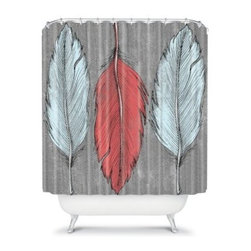 DENY Designs Wesley Bird Feathers Shower Curtain - The DENY Designs Wesley Bird Feathers Shower Curtain isn't just for the birds. With a fun and feathery designer print and a great use of color, this shower curtain is sure to turn some heads. So get all sudsy in style and forget those drab shower curtains for good.About DENY DesignsDenver, Colorado based DENY Designs is a modern home furnishings company that believes in doing things differently. DENY encourages customers to make a personal statement with personal images or by selecting from the extensive gallery. The coolest part is that each purchase gives the super talented artists part of the proceeds. That allows DENY to support art communities all over the world while also spreading the creative love! Each DENY piece is custom created as it's ordered, instead of being held in a warehouse. A dye printing process is used to ensure colorfastness and durability that make these true heirloom pieces. From custom furniture pieces to textiles, everything made is unique and distinctively DENY.