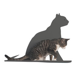 Cat Silhouette Cat Shelf Gaze - Your kitty is one of your favorite things about your home; why be discreet about his presence? This cat silhouette wall shelf makes a proud style statement of your handsome feline while providing him with a cozy, padded platform to rest on. The laser-cut, powder-coated silhouette is available in a variety of colors, from subtle to boldly contrasting.