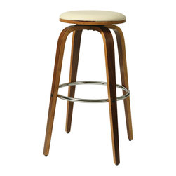 """Pastel - Yohkoh Swivel Barstool YH-215 - Ivory - 26"""" - The contemporary Yohkoh Barstool has a simple yet elegant design that is perfect for any decor. An ideal way to add a touch of modern flair to any dining or entertaining area in your home. This barstool features a quality frame with sturdy legs and foot rest finished in Chrome and Walnut Veneer. The padded seat is upholstered in Pu Ivory or Pu Black offering comfort and style. (Available in 26"""" counter or 30"""" bar height)."""
