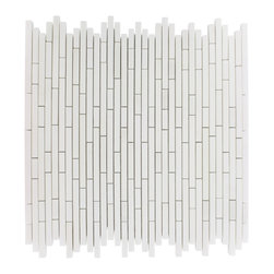 "Torpedo White Thassos Marble Mosaic Tile - TORPEDO 1/4 X RANDOM WHITE THASSOS MARBLE PATTERN MOSAIC TILE This marble mosaic will provide endless design possibilities from contemporary to classic. It creates a great focal point to suit a variety of settings. The mesh backing not only simplifies installation, it also allows the tiles to be separated which adds to their design flexibility. Chip Size: 1/4"" x Random Color: White Thassos Material: Marble Mosaic Finish: Polish Sold by the Sheet - each sheet measures 12"" x 12"" (1 sq. ft.) Thickness: 8mm"