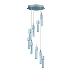 ET2 - ET2 Fizz III 9-Light LED Pendant - This ever popular collection is now better than ever. High output LEDs now illuminate the bubble glass pendants. These LED modules produce 20% more light, 90% less heat, 25 time longer life, and 75% less energy than the previous halogen lamp. You also still have dimming capability.