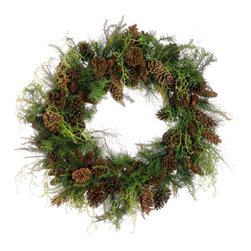 Silk Plants Direct - Silk Plants Direct Pine and Pine Cone Wreath (Pack of 1) - Silk Plants Direct specializes in manufacturing, design and supply of the most life-like, premium quality artificial plants, trees, flowers, arrangements, topiaries and containers for home, office and commercial use. Our Pine and Pine Cone Wreath includes the following: