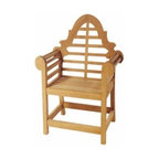Anderson Teak - Marlborough Dining Armchair - Unfinished - Add eye-catching seating to your outdoor dining arrangement.  Armchairs showcase the beauty of teak crafting along with ornamental carved crests and slat rolled arms.  Spacious seats add to the regal appeal and will keep family and guests lingering after meals. * Sloping arches and fully scrolled arms . Teak wood construction. Traditional style. Minimal assembly required. Overall: 37 in. W x 25 in. D x 40 in. H (25 lbs.). Seat height: 17 in.The Marlborough is a timeless classic faithfully reproduced from the designs of Sir Edwin Lutyens, one of Britain's most noted architects. The sloping arches and fully scrolled arms are designed to complement and enhance its natural surroundings at any time of year. Rain or shine the Marlborough will embrace any location and impress all who behold it. We have made subtle but careful design changes to ensure excellent back support. Place a single bench under your trees; use a group of benches and chairs for entertaining. Quality built for generations.