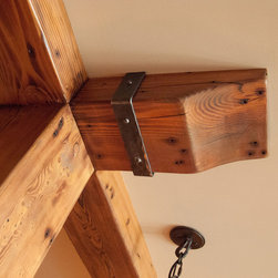 Douglas fir timber & corbel - Douglas fir timber & corbel with weathered metal hardware