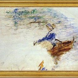"Berthe Morisot-16""x24"" Framed Canvas - 16"" x 24"" Berthe Morisot Young Woman in a Rowboat, Eventail framed premium canvas print reproduced to meet museum quality standards. Our museum quality canvas prints are produced using high-precision print technology for a more accurate reproduction printed on high quality canvas with fade-resistant, archival inks. Our progressive business model allows us to offer works of art to you at the best wholesale pricing, significantly less than art gallery prices, affordable to all. This artwork is hand stretched onto wooden stretcher bars, then mounted into our 3"" wide gold finish frame with black panel by one of our expert framers. Our framed canvas print comes with hardware, ready to hang on your wall.  We present a comprehensive collection of exceptional canvas art reproductions by Berthe Morisot."