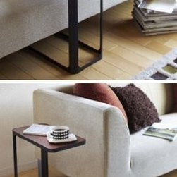 """""""Frame"""" Black Metal Elegant Side Table, 20.5"""" H - Contemporary and sleek side table with wood laminate top and metal base."""