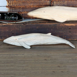 Carved Wood Whale - Humpback Whale - For those that appreciate one of the seas most majestic creatures, the Carved Wooden Humpback Whale is an eye catching accent that will look fantastic perched on your desk or shelf. Collect the whole set and place in a curio cabinet for a great conversation starter. These beautiful renderings of the sea are perfectly suited for your summer beach cottage and also make thoughtful gifts for those that adore the sea.
