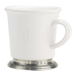 Match - Luisa Mug - The Luisa Mug is a gorgeous white ceramic coffee mug with an elegant Italian pewter base, enhanced by a slender rope motif.