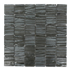 """GlassTileStore - Terrene Black Locust 2x2 Glass Tile - TERRENE BLACK LOCUST 2x2 GLASS TILE  This striking glass can make any room atheistically appealing. The wavy finish brings a distinctive design and will add a nice touch for a contemporary and modern room. This tile is great to use for the bathroom, kitchen or pool installation.      Chip Size: 2x2   Material: Glass   Color: Metallic Gunmetal   Finish: Polish   Sold by the Square Foot - each sheet measured 12""""x12"""" - (1 sq. ft.)             - Glass Tiles -"""