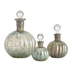 "Arteriors - Noe Decanters - Set of 3 - This set of three iridescent glass decanters looks beautiful on a vanity or a dresser.  Definitetly a gift worth giving.  Decorative use only.  Large Decanter: 6 1/2"" w x 6 1/2"" d x 9"" h  Medium Decanter: 4"" w x 4"" d x 6 1/2"" h  Small Decanter: 3 1/2"" w x 3 1/2"" d x 5"" h"