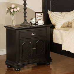 None - Napa Black Nightstand - Complete the look of your bedroom with this wooden black nightstand featuring a shiny finish and solid hardwood construction. This beautiful nightstand has one drawer and convenient storage doors below for keeping your favorite books and items handy.