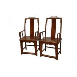 18th Century pair of Elmwood Yoke Back Armchairs - Finely restored pair of Elmwood yoke back armchairs (southern official's armchairs) with wood seat. Clear lacquer shows grain beautifully.