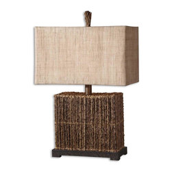 Uttermost - Uttermost 27994-1 Natural Palm Body Lamp - Natural palm branches strung together with woven rattan accented with a rustic bronze foot.