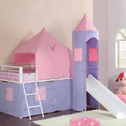Coaster - 460279 Twin Loft Bed - Majestic and fun, this castle styled twin loft bed, is the dream space for any little girls room. Featuring ] an included ladder and slide, with colorful pink and purple tent-style wrappings, this smart piece is a great addition to the youth room in your home. Make all her dreams come true with this sweet loft bed.